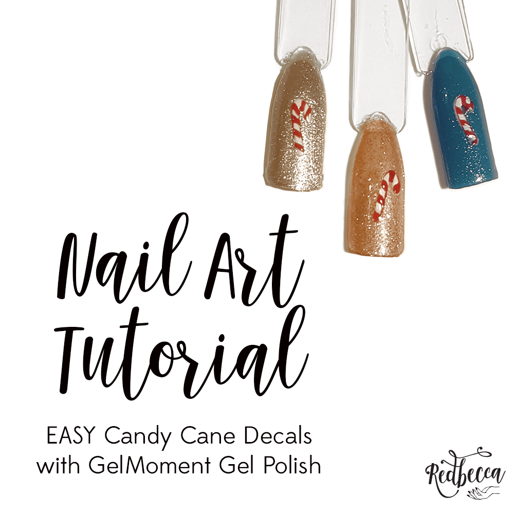GelMoment Christmas Nail Art - Candy cane nail decals on GelMoment Gel Polish